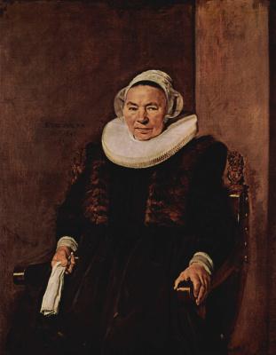 Франс Халс. Портрет сидящей женщины с белыми перчатками в правой руке
