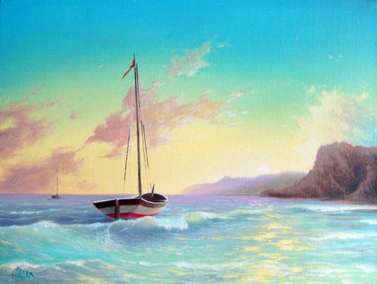 Морской пейзаж с лодкой