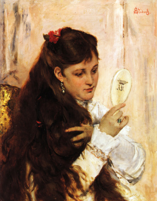 Alfred Emil-Leopold Stevens. The girl with the mirror