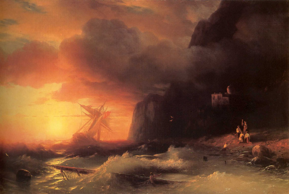 Ivan Aivazovsky. Shipwrecked off mount Athos
