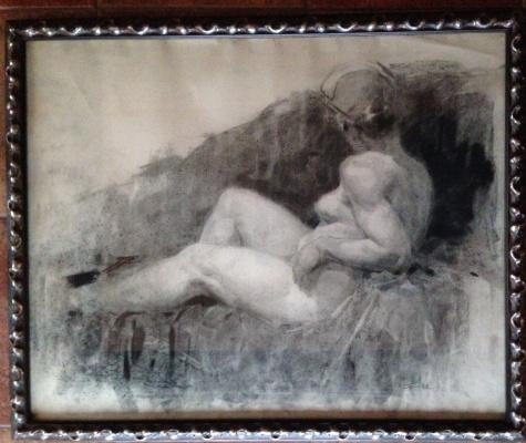 "Константин Петрович Фролов. ""Модель"", 1950-е гг., б/уголь,растушевка, 64х80"