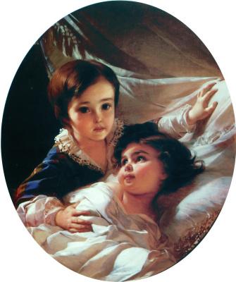 Иван Кузьмич Макаров. Портрет двух детей (из семьи Толстых). 1854