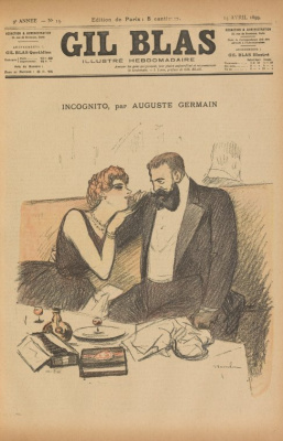 Theophile-Alexander Steinlen. Incognito, Auguste Germain. Illustration for the magazine