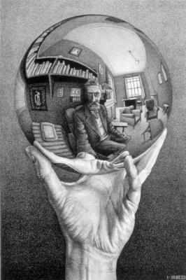 Мауриц Корнелис Эшер. Рука с отражающей сферой
