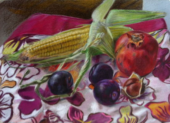 Sophia Khasanova. Still life with corn, plums, chestnut and pomegranate