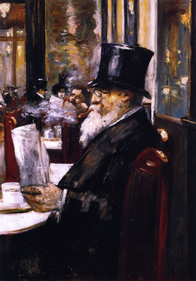 Lesser Ury. Reading newspaper in cafe