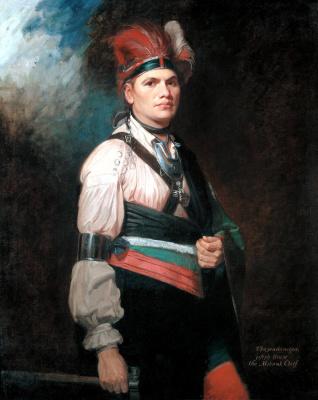 Джордж Ромни. Портрет Джозефа Бранта в костюме североамериканского индейца с томагавком
