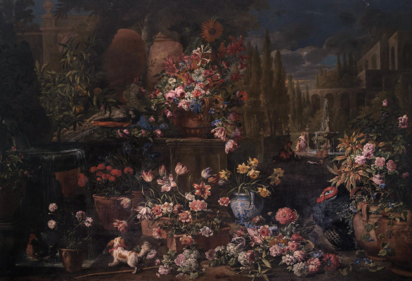 Abraham Brueghel. Flowers among architecture