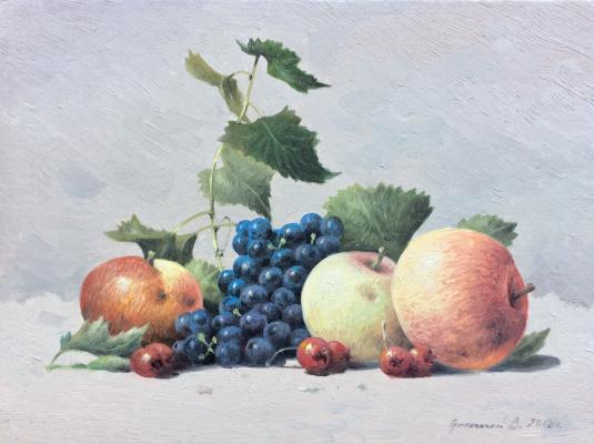 Vasily Ivanovich Gribennikov. Still life with grapes and hawthorn