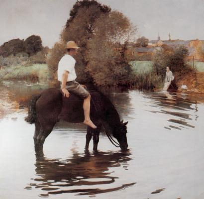 Жюль-Алексис Мунье. Молодой фермер поит лошадь