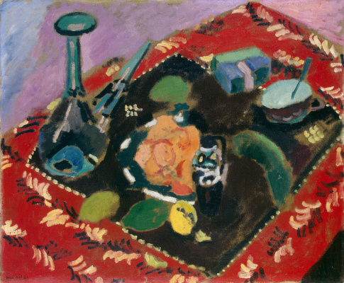 Henri Matisse. Tableware and fruit on a red and black carpet