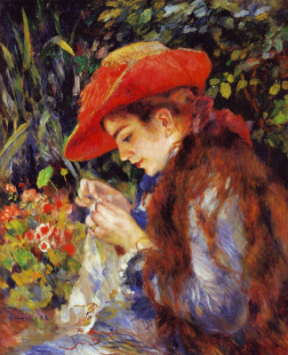 Pierre-Auguste Renoir. Portrait of Marie Therese Durand-Ruel sewing