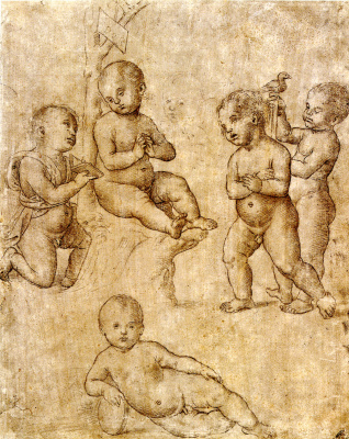 Рафаэль Санти. Пять нагих младенцев в разных позах