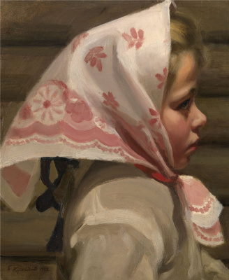 Boris Mikhailovich Kustodiev. Portrait of a girl in a headscarf