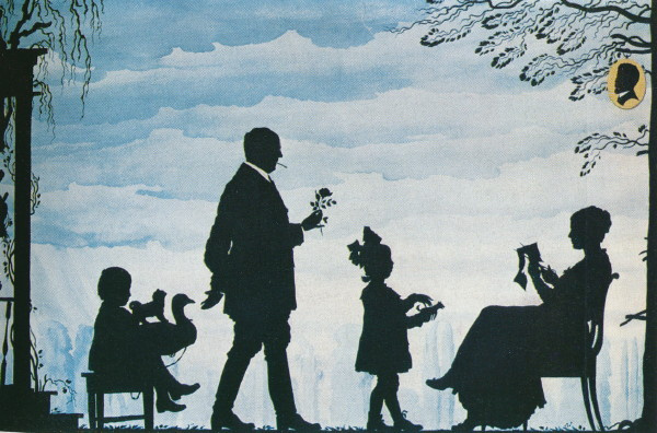 Георгий Иванович Нарбут. Self portrait with family. Silhouette