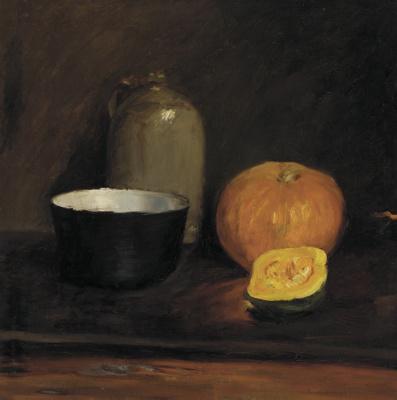 William Merritt Chase. Still life with pumpkin