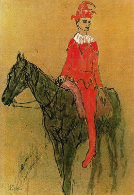 Pablo Picasso. Harlequin on horseback