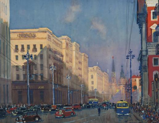 Alexander Mikhailovich Gerasimov. Moscow, st. Gorky. 1947