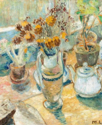Still life with flowers and dishes