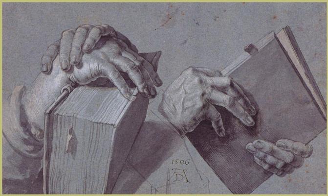 Альбрехт Дюрер. Две пары рук держит книгу