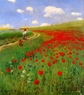 Pál Szinyei Merse. Meadow with poppies