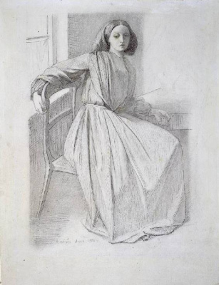 Dante Gabriel Rossetti. Portrait of Elizabeth Siddal seated in a chair by the window