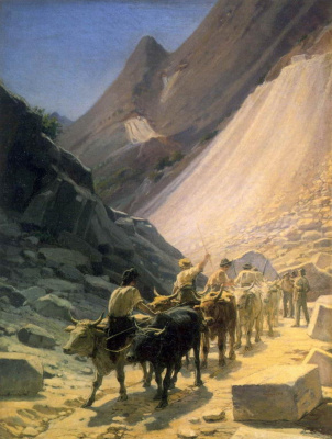 Nikolai Nikolaevich Ge. Transportation of marble at Carrara