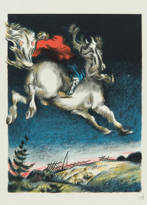 """Vladimir Mikhailovich Konashevich. Ivan is on a horse. Illustration for the book by P. Ershov """"Humpbacked Horse"""""""