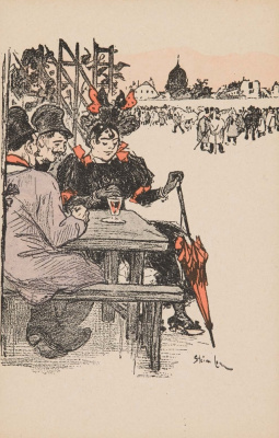 Theophile-Alexander Steinlen. Drinking coffee in the street