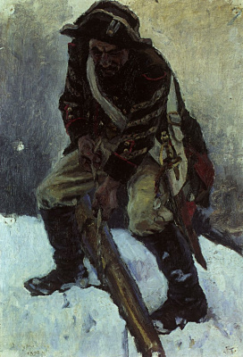 "Vasily Ivanovich Surikov. Suvorov's soldiers. Study for the painting ""Suvorov crossing the Alps"""