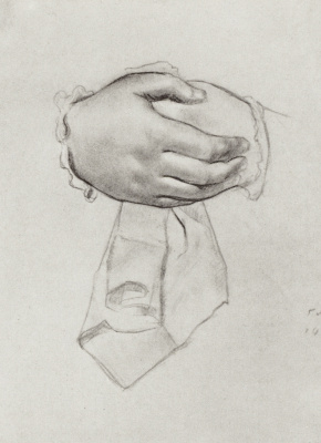 "Boris Mikhailovich Kustodiev. Hand drawing for the painting ""merchant's wife"". Sketch"
