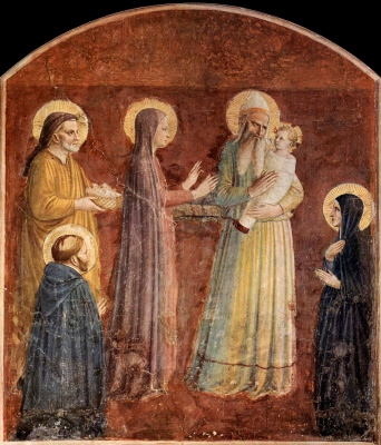 Fra Beato Angelico. Bringing to the temple. Fresco of the Monastery of San Marco, Florence
