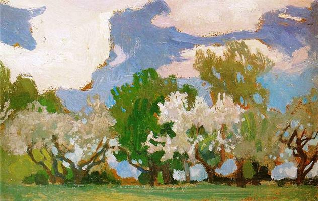 Jan Stanislavsky. Blossoming apple-trees