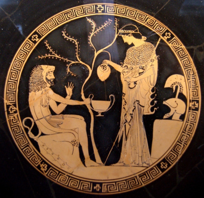 Ancient Vaso painting. Gives Hercules the apples of the Hesperides Athena
