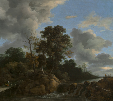 Jakob van Isaacs Ruisdael. Forest landscape with a bridge at the waterfall