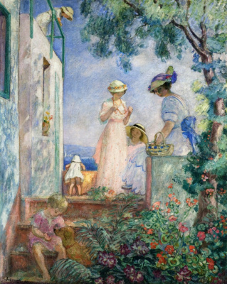 Henri Lebasque. Girls on the terrace Santa Maxim