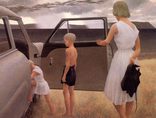 Alex Colville. Family and sudden rain