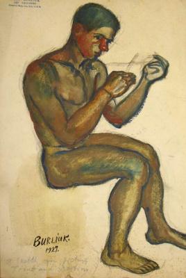 David Davidovich Burliuk. Young boy sitting