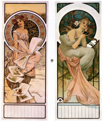 Alphonse Mucha. Calendar Champagne