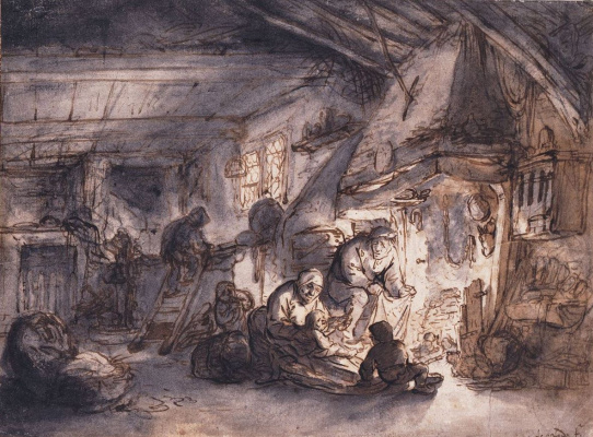 Adrian Jans van Ostade. Peasant family at the hearth