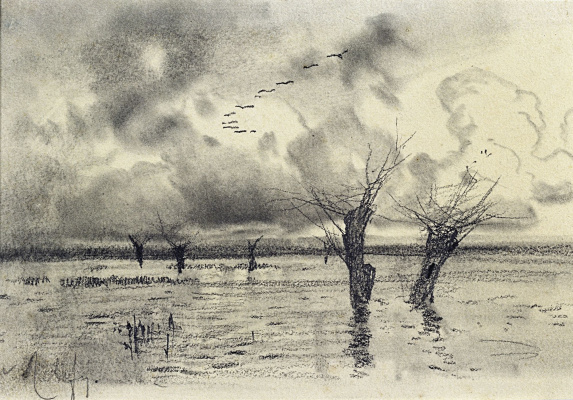 Isaac Levitan. The cranes are flying. Spill. Sketch