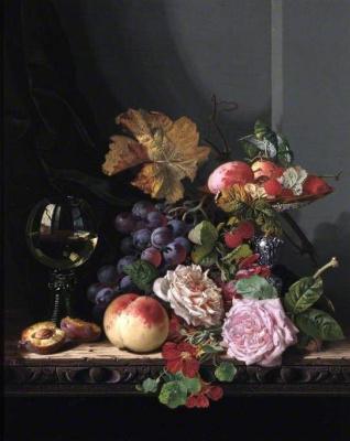 Эдвард Ладелл. Натюрморт с фруктами и розами