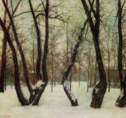 "Anatoly Adrianovich Lebedev-Shuisky. Moscow. The old willow in the Park of culture and recreation ""Krasnaya Presnya"". In the winter"