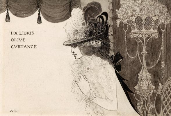 Aubrey Beardsley. Design of the ex-libris for Olive Castaña