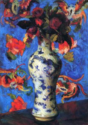 Бернхард Кутманн. Цветы в вазе на столе