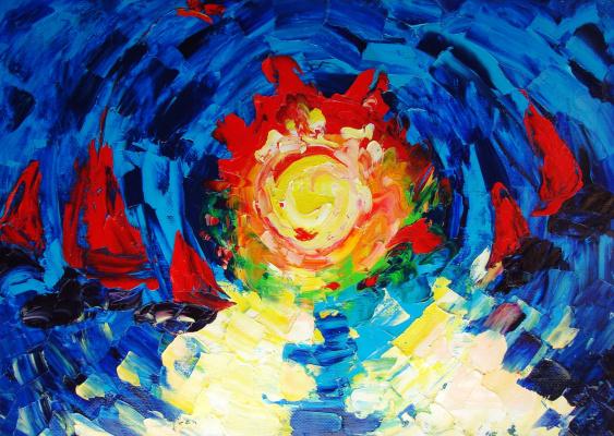 Kandinsky-DAE. Ships. Oil on canvas, 50-70, 2005