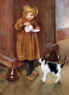 Генрих Краббе. Блюдце с молоком для кошки