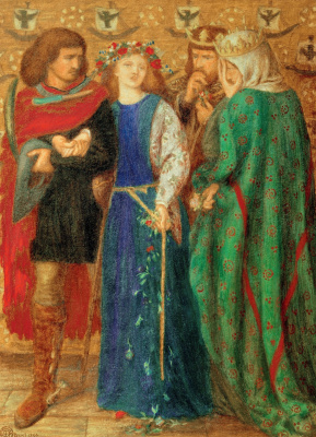 Dante Gabriel Rossetti. Hamlet. The first madness of Ophelia