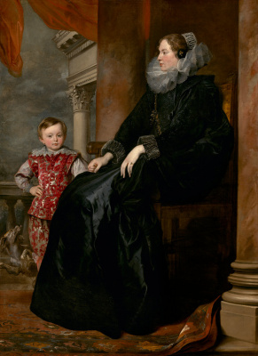 Anthony van Dyck. Portrait of a Genoese noblewoman with her son