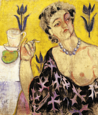 Natalia Goncharova. A woman with a cigarette